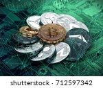 huge stack of cryptocurrencies... | Shutterstock . vector #712597342