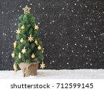 christmas tree  snowflakes ... | Shutterstock . vector #712599145