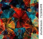 seamless texture. red  blue ... | Shutterstock .eps vector #712606498