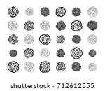 set of hand drawn floral... | Shutterstock .eps vector #712612555