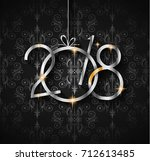 2018 happy new year background... | Shutterstock . vector #712613485