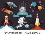 flat space set. rocket.... | Shutterstock .eps vector #712618918