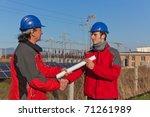 engineer handshake with plans...   Shutterstock . vector #71261989