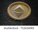 symbol ethereum from golden... | Shutterstock . vector #712626082