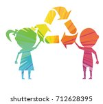 children and recycling... | Shutterstock .eps vector #712628395