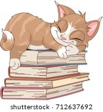 cute cat are sleeping on pile... | Shutterstock .eps vector #712637692