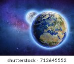 galaxy universe planet earth... | Shutterstock . vector #712645552