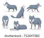 grey wolf cartoon character... | Shutterstock .eps vector #712647382