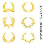 golden wreath set  vector icon | Shutterstock .eps vector #71264776