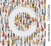 crowd of people in the shape of ... | Shutterstock .eps vector #712652266