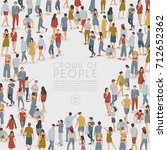 crowd of people standing in... | Shutterstock .eps vector #712652362