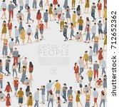 crowd of people standing in... | Shutterstock .eps vector #712652362
