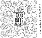 fruits food doodle icons hand... | Shutterstock .eps vector #712655215