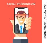 facial recognition concept.... | Shutterstock .eps vector #712657492