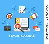 human resources flat... | Shutterstock .eps vector #712659922