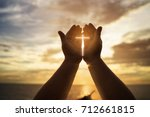 human hands open palm up... | Shutterstock . vector #712661815