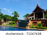 Swimming pool in the hotel in Phuket Island, Thailand - stock photo