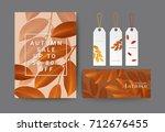 set of autumn sale  gift... | Shutterstock .eps vector #712676455