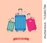 family trip with travel luggage ... | Shutterstock .eps vector #712681786