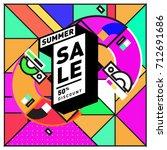 summer sale retro memphis style ... | Shutterstock .eps vector #712691686