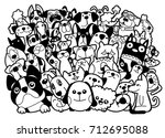 doodle dogs and cats group... | Shutterstock .eps vector #712695088