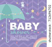 cute baby shower invitation... | Shutterstock .eps vector #712696702