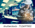 double exposure of engineer or... | Shutterstock . vector #712697002