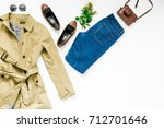look female autumn clothes on... | Shutterstock . vector #712701646