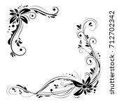floral corner design. ornament... | Shutterstock .eps vector #712702342