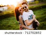 couple in love having fun and... | Shutterstock . vector #712702852