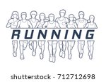 marathon runners  group of... | Shutterstock .eps vector #712712698