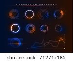 holographic technological... | Shutterstock .eps vector #712715185