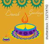 diwali greetings with... | Shutterstock .eps vector #712719742
