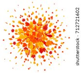 autumn leaves explosion. vector ... | Shutterstock .eps vector #712721602
