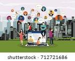 social network web site surfing ... | Shutterstock .eps vector #712721686