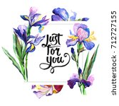 wildflower iris flower frame in ... | Shutterstock . vector #712727155