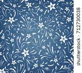 floral pattern on denim... | Shutterstock .eps vector #712730038