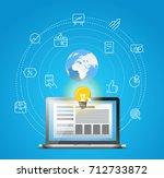 abstract modern network scheme... | Shutterstock .eps vector #712733872