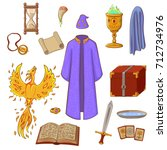 set to play a wizard. things... | Shutterstock .eps vector #712734976