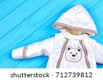 unisex baby winter overall....   Shutterstock . vector #712739812