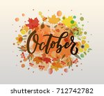 october lettering typography.... | Shutterstock .eps vector #712742782