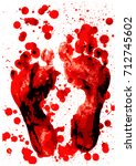 blood red footprint isolated on ... | Shutterstock .eps vector #712745602