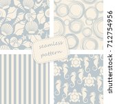 set of 4 seamless patterns in... | Shutterstock .eps vector #712754956