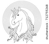 unicorn black and white tattoo... | Shutterstock .eps vector #712755268