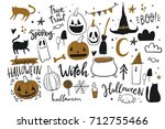 happy halloween print | Shutterstock .eps vector #712755466
