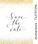 save the date card with falling ... | Shutterstock .eps vector #712757296