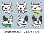 cute french bulldog vector   Shutterstock .eps vector #712757476