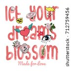 flowers slogan and patch | Shutterstock .eps vector #712759456