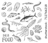 collection of sketches sea food.... | Shutterstock .eps vector #712766218