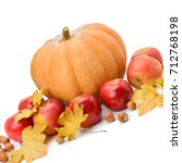 pumpkin  apples and hazel... | Shutterstock . vector #712768198